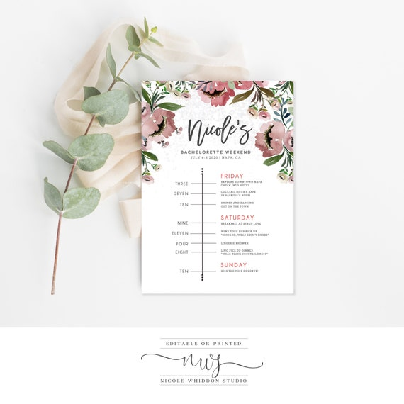 INSTANT DOWNLOAD Bachelorette Invitation With Itinerary Self Editing Timeline Editable Template Templett Printable Party