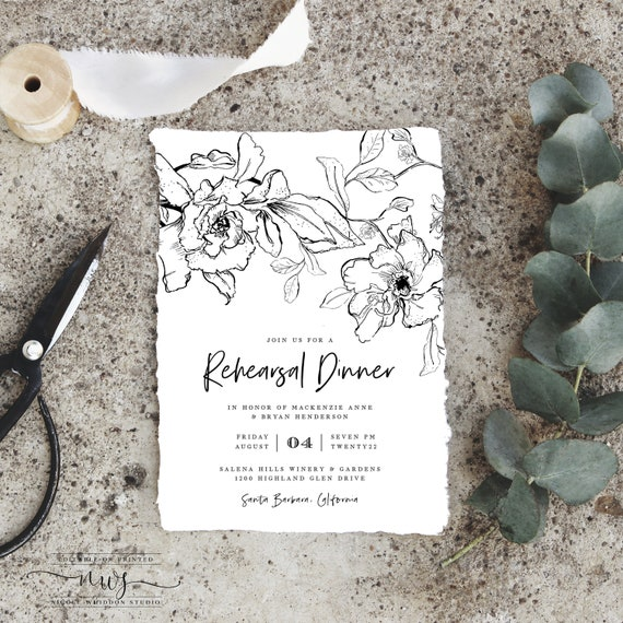 Rehearsal Dinner Invitation Template Instant Download Black And White Formal Line Drawing Modern Wedding Rehearsal Digital Invite Pdf
