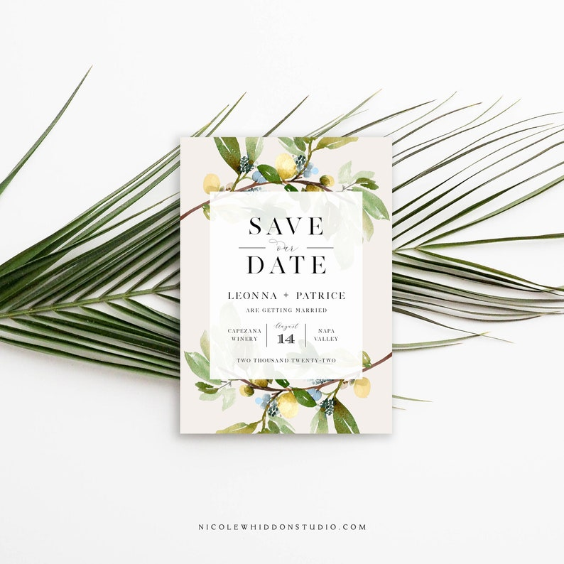 Save the Date Photo Card, Template, Greenery, Nude, Neutrals, Modern  Wedding, Watercolor Leaves, Elegant, Instant Download, Editable PDF,DIY