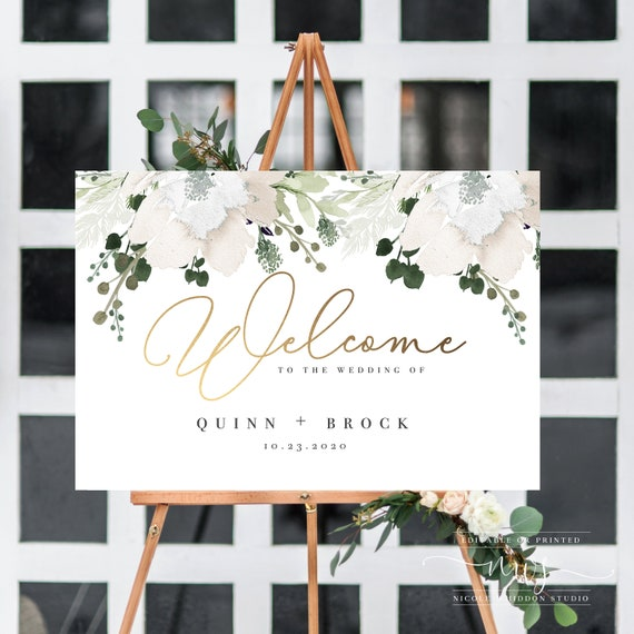DIGITAL DOWNLOAD Gold Floral Wedding Signs Large Welcome Sign Printable BGF100 Personalized Wedding Welcome Sign Template