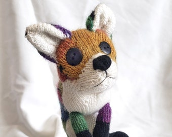 Patchwork knitted Fox Toy