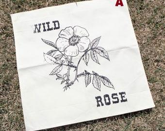 "Wild Rose Bandana, Screen Print wall hanging, 20"" x 20"""