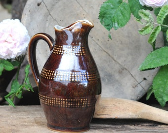 French Renault Pottery Pitcher/ creamer. Vintage stoneware. Cottage chic. Rustic decor
