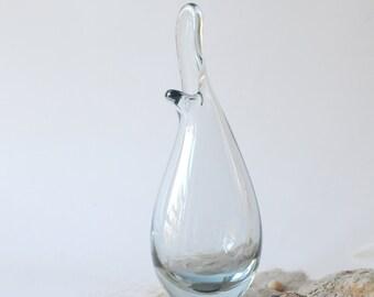 Per Lütken for Holmegaard. Beak vase / Duckling Vase. Aqua blue crystal. Scandinavian modern glass art. Signed