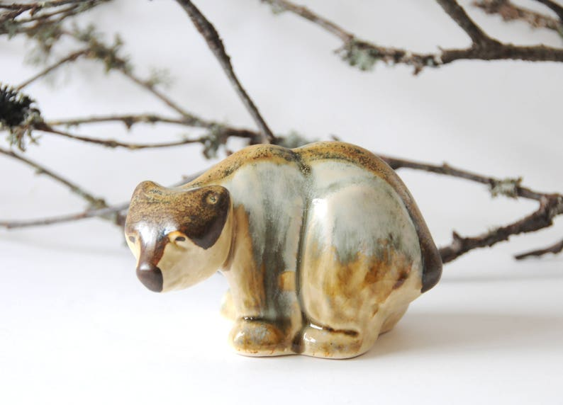 Bornholm Mid Century Modern Danish Pottery Studio Pottery Soholm Bear figurine by Joseph Simon