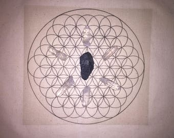Powerful Black Tourmaline (Schorl) Protection Grounding Healing Crystal Grid - Flower of Life - Sacred Geometry