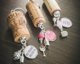 Cowboys and Wine Kinda Girl Wine Cork keychain