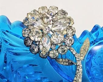 WEISS Clear Rhinestone Layered Flower Brooch Vintage 60s,  Wedding Jewelry, Bridal Bridesmaid Brooch