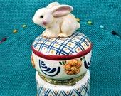 Porcelain Bunny Hinged Trinket box, Rabbit Decor, Easter Gift