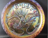 Indiana Carnival Glass Bicentennial Eagle Plate Commemorating USA 39 s 200 Years Old