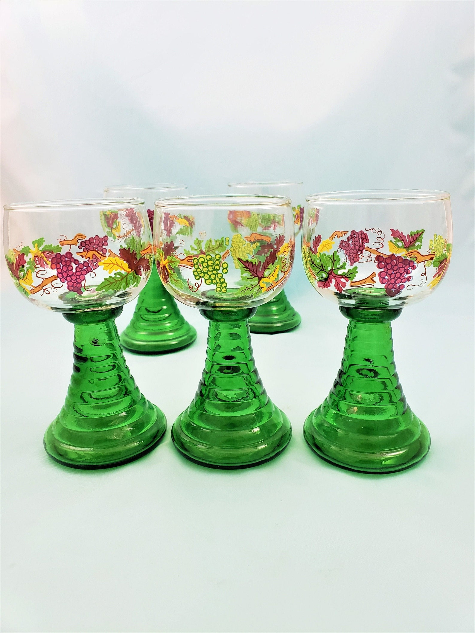 German Roemer Wine Glass with Grapes and Leaves Set of 5