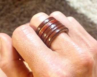 Leather ring - lines