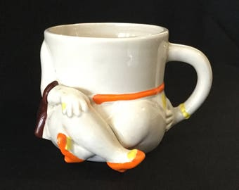 Vintage Fitz & Floyd Ceramic Ladies Arms And Legs Holding Purse in Polka Dot Dress Mug