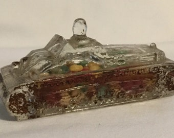 Antique Tank Glass Candy Container