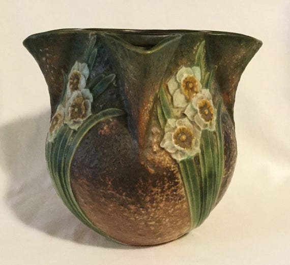 Antique Roseville Pottery Jonquil Pattern Crocus Pot Etsy