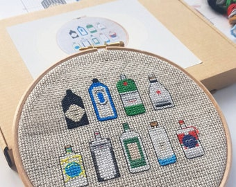 Modern Cross Stitch Kit With 6 Inch Hoop - Gins