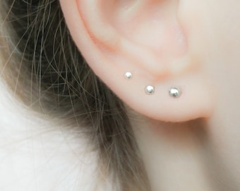 SALE - Dot Earrings Studs Set- Tiny Stud Earrings Silver - Tiny Stud Earrings Rose Gold - Small Earrings Set