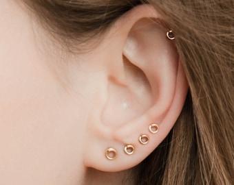 SALE - Tiny Stud Earrings - Tiny earrings - stud earring set - helix piercing - Helix Earring - helix stud - Multiple piercing - tiny circle