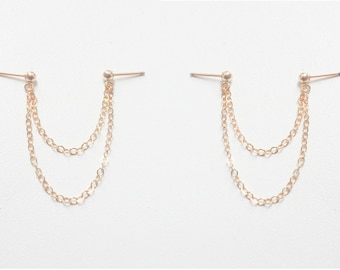SALE - Chain Stud Earrings - Chain drop earrings - Double chain earrings - Gold Drop Earrings - Double piercing