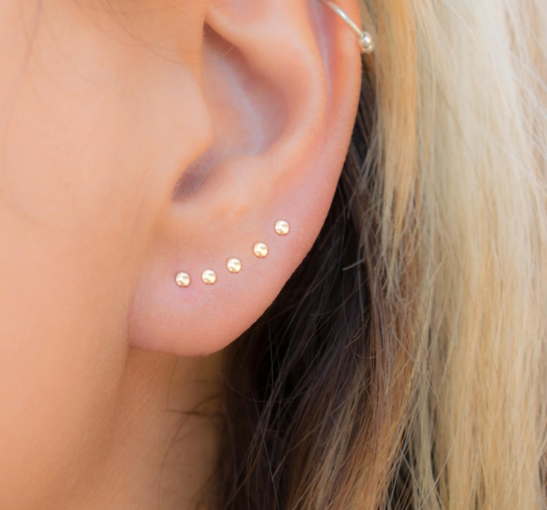 Tiny Stud Earrings  Tiny Dot Studs  Small Stud Earring Tiny image 0