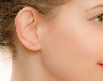 SALE - Wave Earrings Studs - Tiny Stud Earrings - Gold wave studs earrings - Gold Squiggle earrings