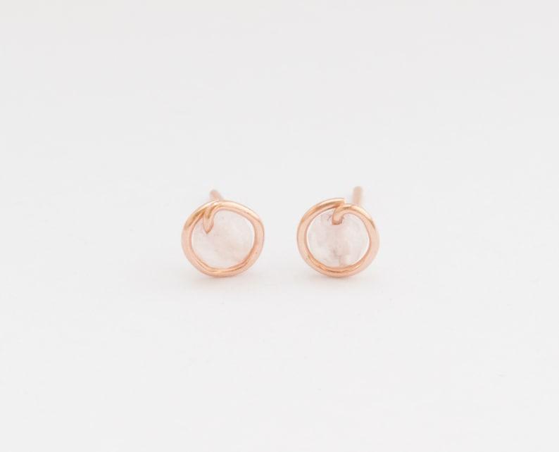Rose Quartz Studs SALE Blush Earrings Rose Quartz Rose Gold Earrings Studs Tiny Rose Gold Stud Earrings Rose Quartz Earrings