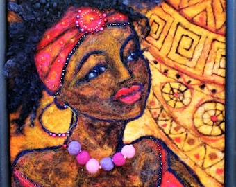 African  Beauty felted picture