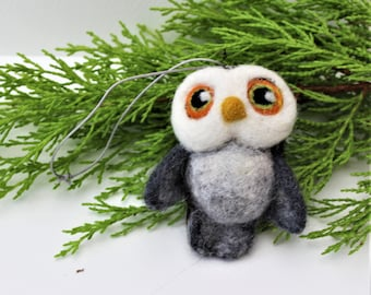 Felted  Cute Baby Owl Christmas Decoration