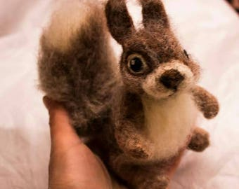 Baby Squirrel Felted Soft Sculpture