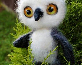 Cute Owl Felted  Wool Sculpture