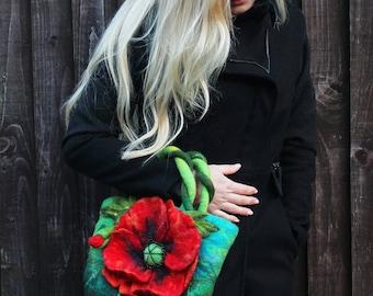 Felted Poppy Bag Floral Bag original design bag