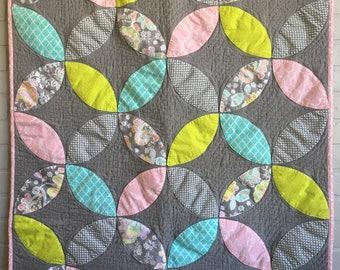 Baby Girl Quilt, Baby Girl Blanket, Crib Quilt, Crib Blanket, Gray Baby Quilt, Floral Baby Quilt