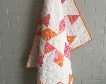 Baby Girl Quilt, Baby Quilt, Modern Baby Quilt, Pink and Orange Baby Quilt, Crib Quilt