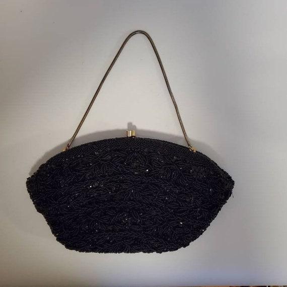 1950s fashion Bakelite handle black beaded purse Vintage purse handbag Italian purse,