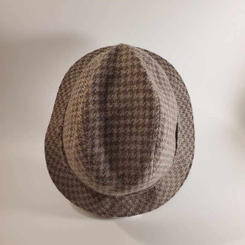 Tweed Houndstooth Vintage Hat 1960s ~ FREE SHIPPING