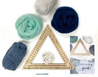 Weaving project kit / Woven wall hanging triangle kit / Shape loom / DIY weaving set / Weaving yarn & material / Craft DIY / Christmas gift