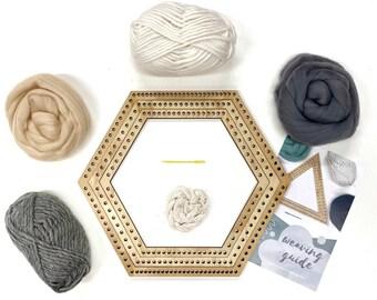 Weaving project kit / Woven wall hanging hexagon kit / Shape loom / DIY weaving set / Weaving yarn & material / Craft DIY / Christmas gift