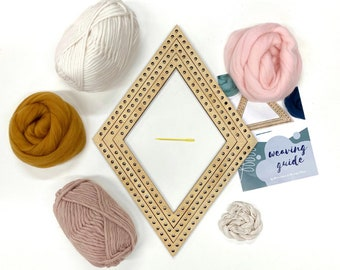 Weaving project kit / Woven wall hanging diamond kit / Shape loom / DIY weaving set / Weaving yarn & material / Craft DIY / Christmas gift