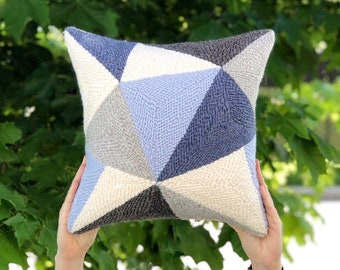Punch needle pillow / Geometric throw pillow / Triangles wool pillow cover / Decorative throw pillow / Navy blue gray white pillow