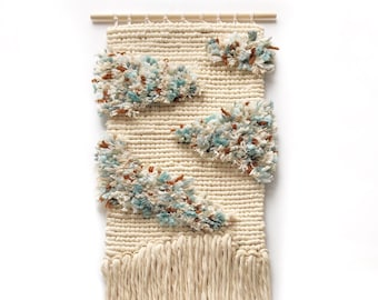Latch hook wall hanging / Wool and cotton tapestry / Colorful wall decor / Weaving / Yarn art / White blue wall decor / Bohemian home decor