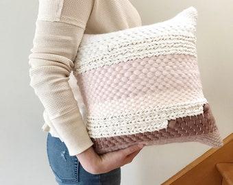Handwoven pillow / Pink gradient throw pillow / Luxury woven decorative pillow / Pink pillow / Scandinavian pillow / Accent nursery cushion