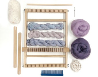 Weaving kit for beginners / Woven wall hanging kit / DIY weaving set / Small weaving loom with yarn & accessories /Craft DIY /Christmas gift