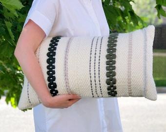 Handwoven pillow / Striped lumbar throw pillow / Woven decorative pillow / Forest green pillow / Scandinavian pillow / Boy nursery decor
