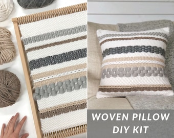 Pillow weaving kit intermediate / Woven pillow kit / Large weaving loom with yarn & accessories / Textured cushion / Christmas gift for her