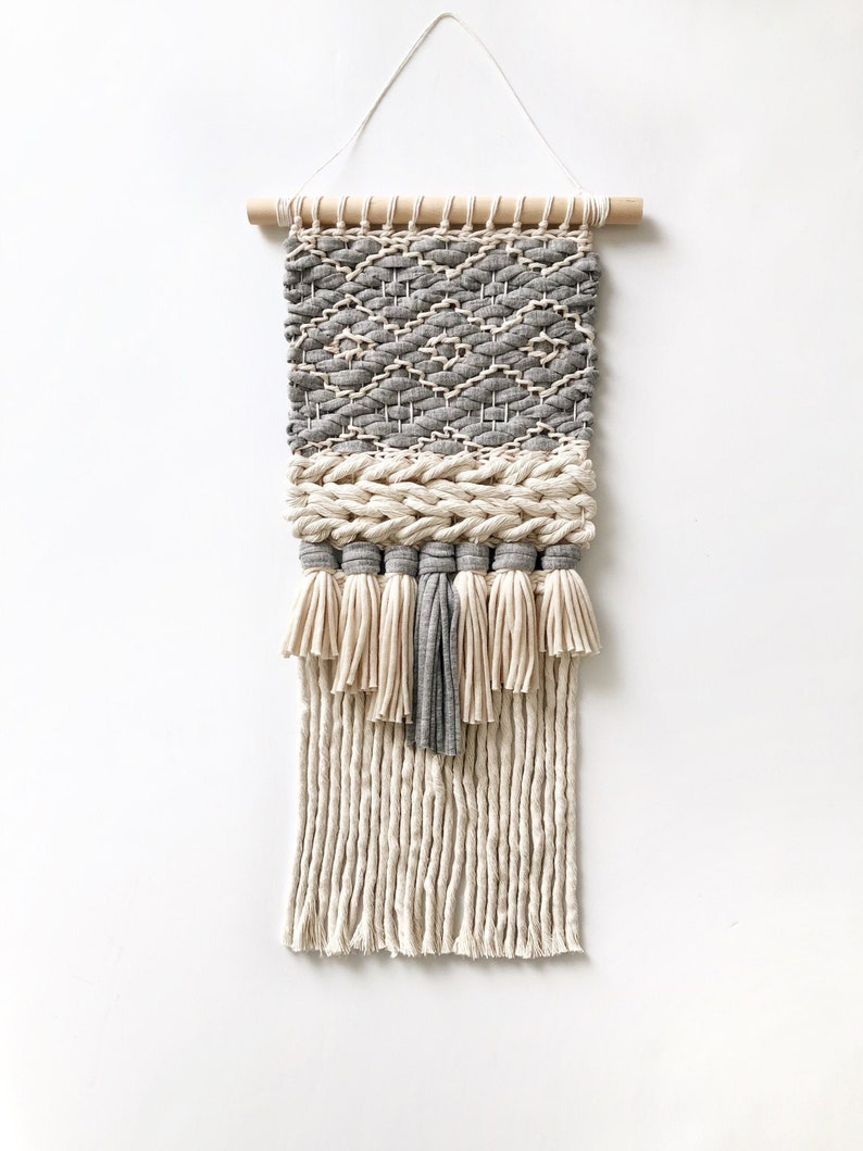 Small woven wall hanging / Vegan cotton tapestry / Neutral image 0