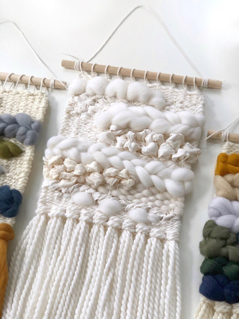 Small woven wall hanging / All white weave / Merino wool image 0