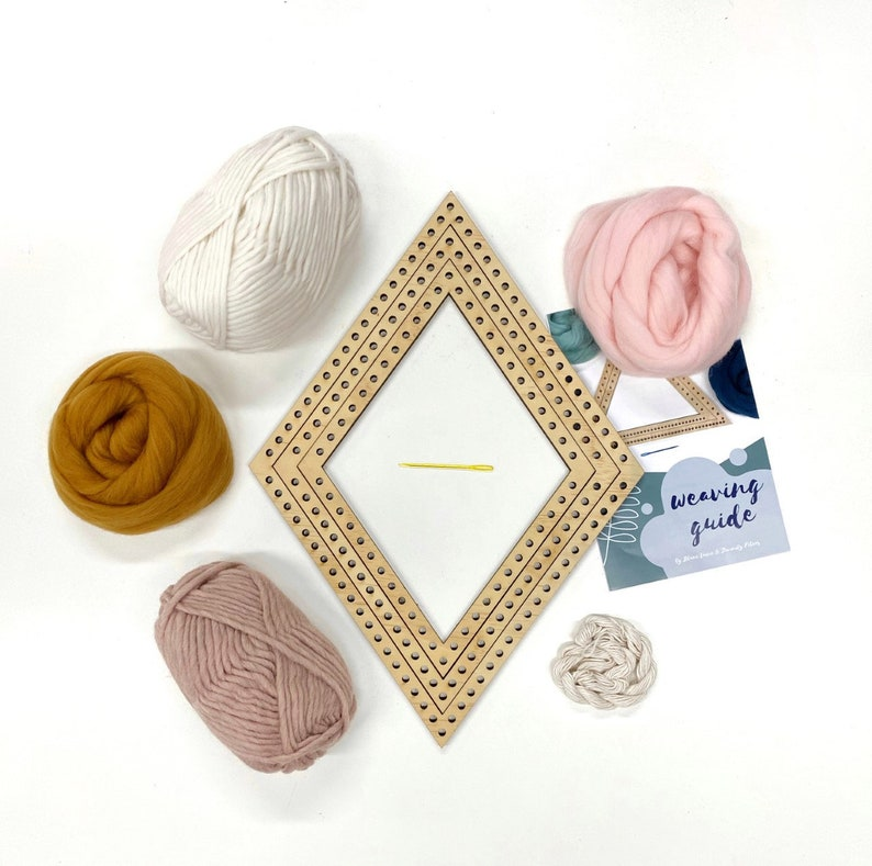 Weaving project kit / Woven wall hanging diamond kit / Shape image 1