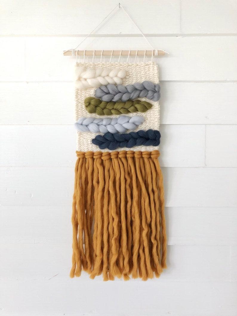Small woven wall hanging / Green blue yellow weave / Merino image 0