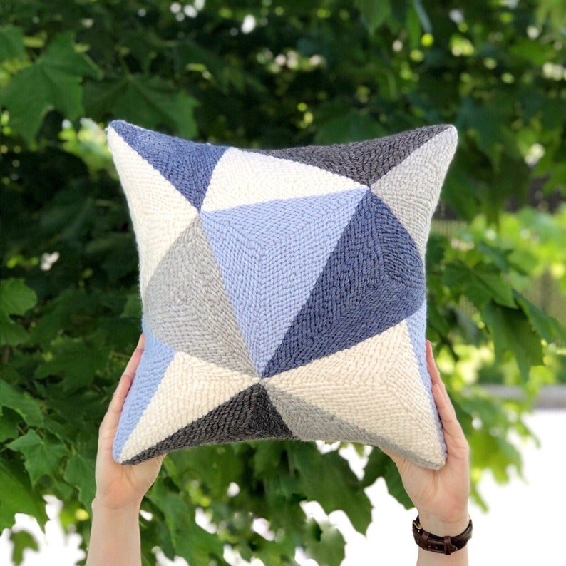 Punch needle pillow / Geometric throw pillow / Triangles wool image 0