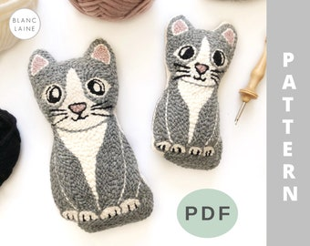 PDF FILE ONLY / Punch needle cat pattern / Gray kitten plushie / Punch needle plush toy / Cat plush toy / Rug hooking cat pattern